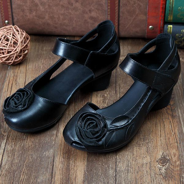 SOCOFY Genuine Leather Floral Leaf Decoration Block Hook Loop Vintage Shoes - US$36.79