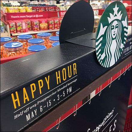 The Starbucks® promotional materials look so good they were left standing long after the sale days ended. A Starbucks® sponsored fixture throughout, even the base and stand were a mellow coffee col…