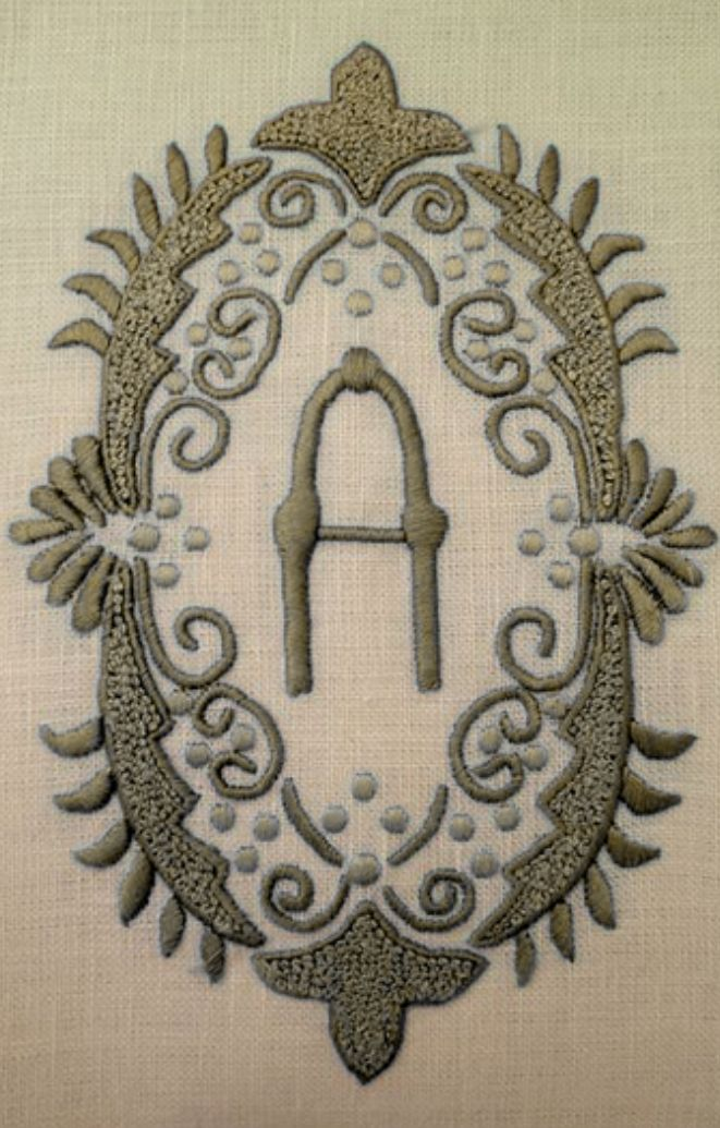 ⌖ Linen & Lace Luxuries ⌖ Victorian embroidered monogram A on linen