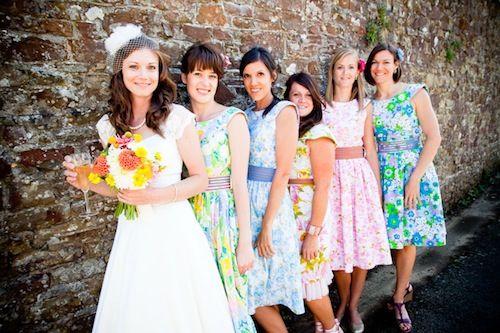 50s style bridesmaids