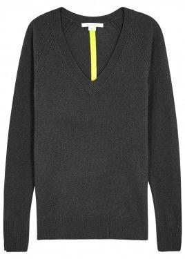 Grey split-back cashmere jumper