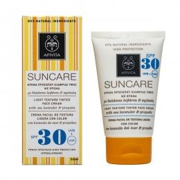 SUNCARE Light Texture Tinted Face Cream SFP 30 with sea lavender & propolis. High Protection from UVA and UVB radiation #Natural Coverage #Antioxidant Action Tinted sun care face cream (SPF30 and UVA 21) with patented propolis that combats photoaging and offers an even skin tone, a matte effect and natural coverage. Suitable for all skin types and ideal for use as light make-up. Read more at www.apivita.com