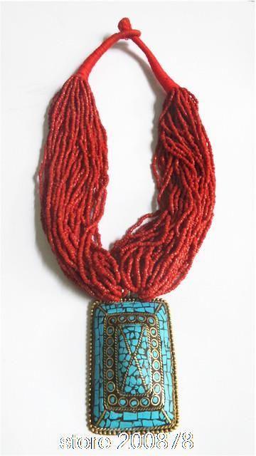 TNL207  Tibetan handmade Big Pendant beaded necklace,Nepal Indian vintage ethnic jewelry, wholesle Tibet jewel