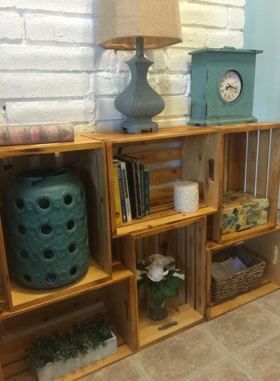 Wooden Crate Shelf Shelves Display Storage Bookshelf Apple Wood Crates Stacking
