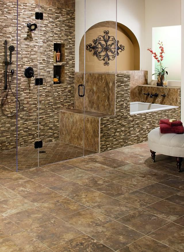 Pictures Of Ceramic Tile Floors: Multi Colored Porcelain Bathroom Floor Tiles