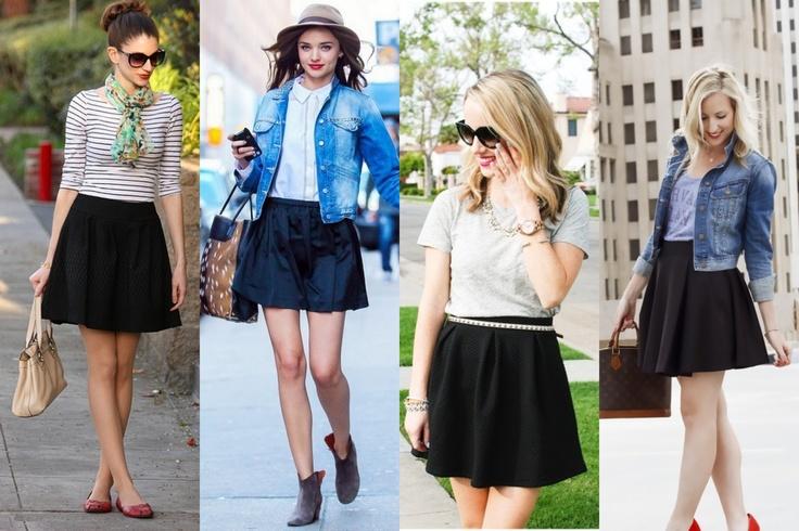 Short black spread skirt
