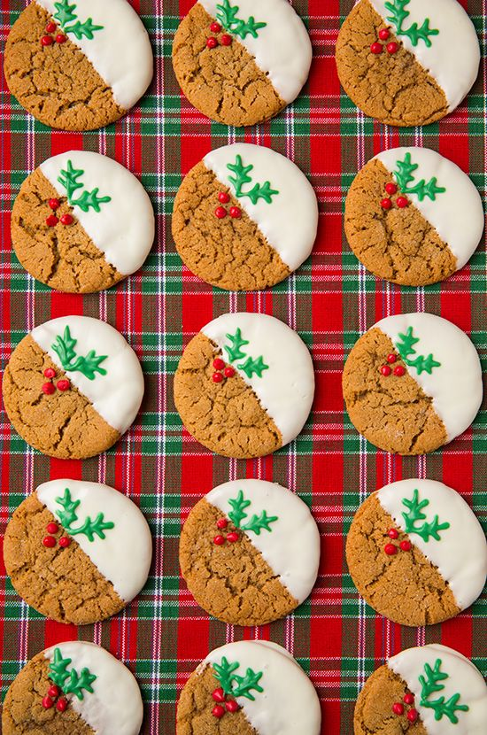White Chocolate Dipped Ginger Cookies from Cooking Classy