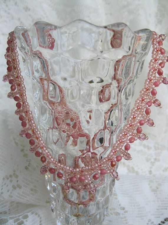 Pink hand woven beaded necklace by BeadALittleDream on Etsy, $28.00