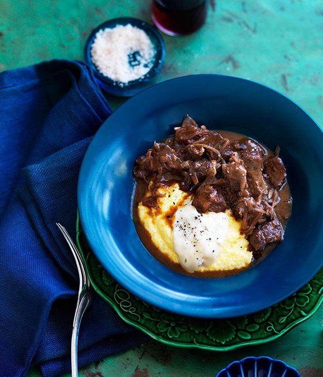 Australian Gourmet Traveller Italian veal recipe for wine-braised veal shoulder with Gorgonzola polenta.