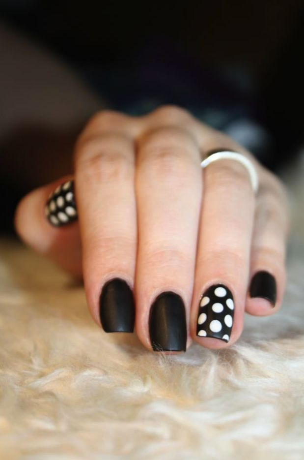 Matte & Polka Dot Nails
