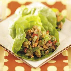 Asian Turkey Lettuce Wraps Recipe -Chopped frozen vegetables make these wraps a snap. Add some Asian chili sauce if you want to spice it up a bit. —Susan Riley, Allen, Texas