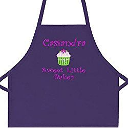 "Personalized Girls Sweet Little Baker Child Apron with Cupcake Add a Name Embroidered (Regular 20""L x 15""W, Purple)"