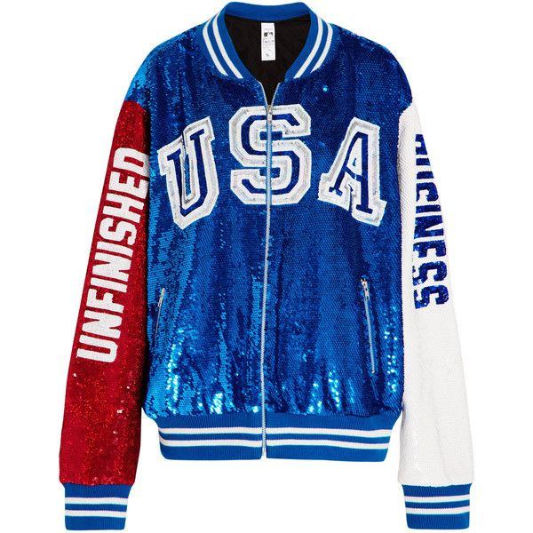 Ashish Sequined cotton-jersey bomber jacket ($2,341) ❤ liked on Polyvore featuring outerwear, jackets, ashish, bomber, bright blue, cowboys jacket, zipper jacket, la dodgers jacket, bomber jackets and cotton baseball jersey
