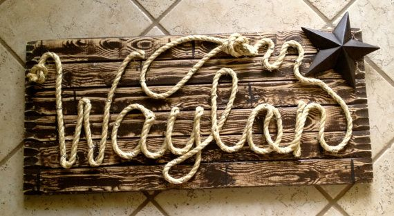 WAYLON 32 Western Rope Name Sign Cowboy Theme Room by RopeAndStyle