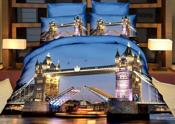 Niebieska pościel na łóżko z miejskim mostem