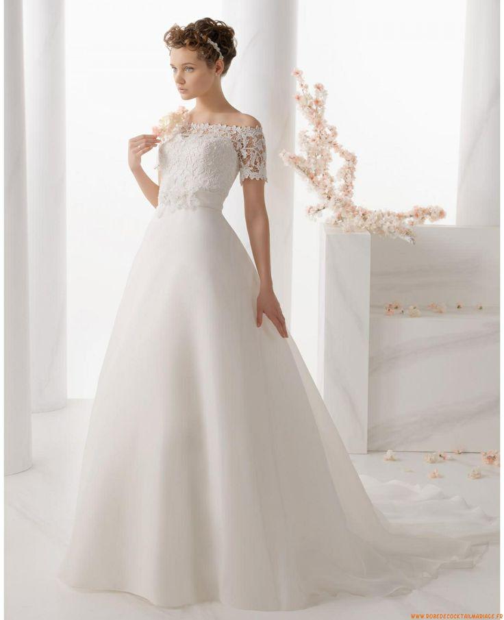 Robe de mariée princesse organza manches dentelle col bateau  robe ...