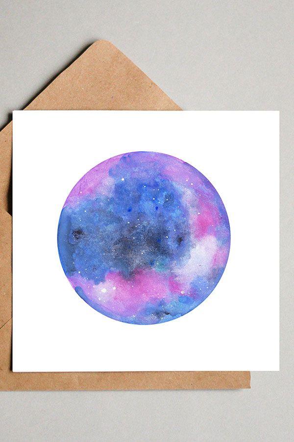 Aquarell Galaxie Lila Blau Quadratische Wanddekoration Mit Mond