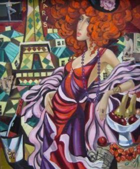 Elena Khmeleva - Vamp meisje in Parijs  Olieverf op doek ondertekend rechts onderaan. Afmeting: 61 x 50 cm. verkocht zonder frame. Zorgvuldig verpakt bijgehouden internationale perceel.  EUR 140.00  Meer informatie