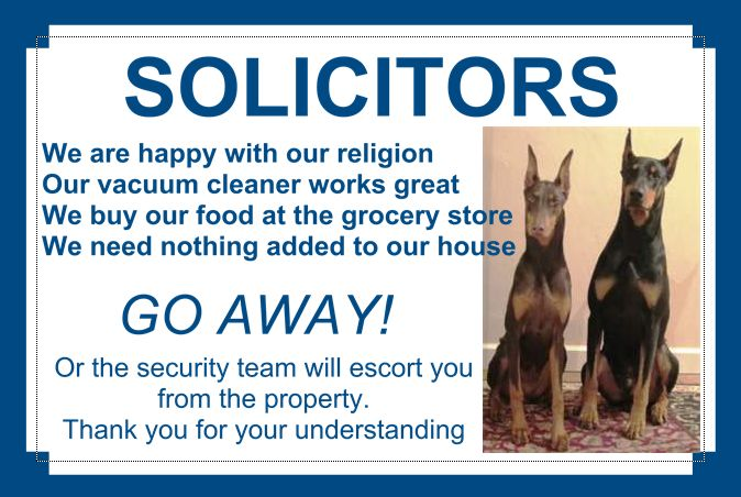 New NO SOLICITING Sign - Doberman Forum : Doberman Breed Dog Forums