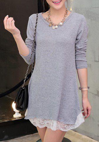 Sweet Lace Spliced Hem Long Sleeve Sweater Dress For Women Sweater Dresses | RoseGal.com