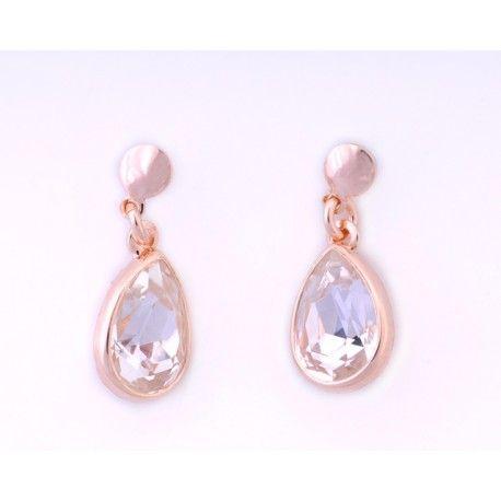 Pendientes con piedra swarovski cristal #joyas #brugine #pendientes