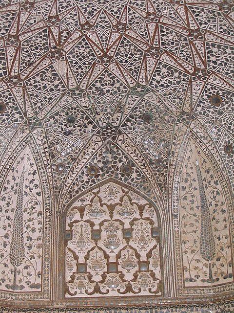 Wall of Sheesh Mahal, Jaipur, India