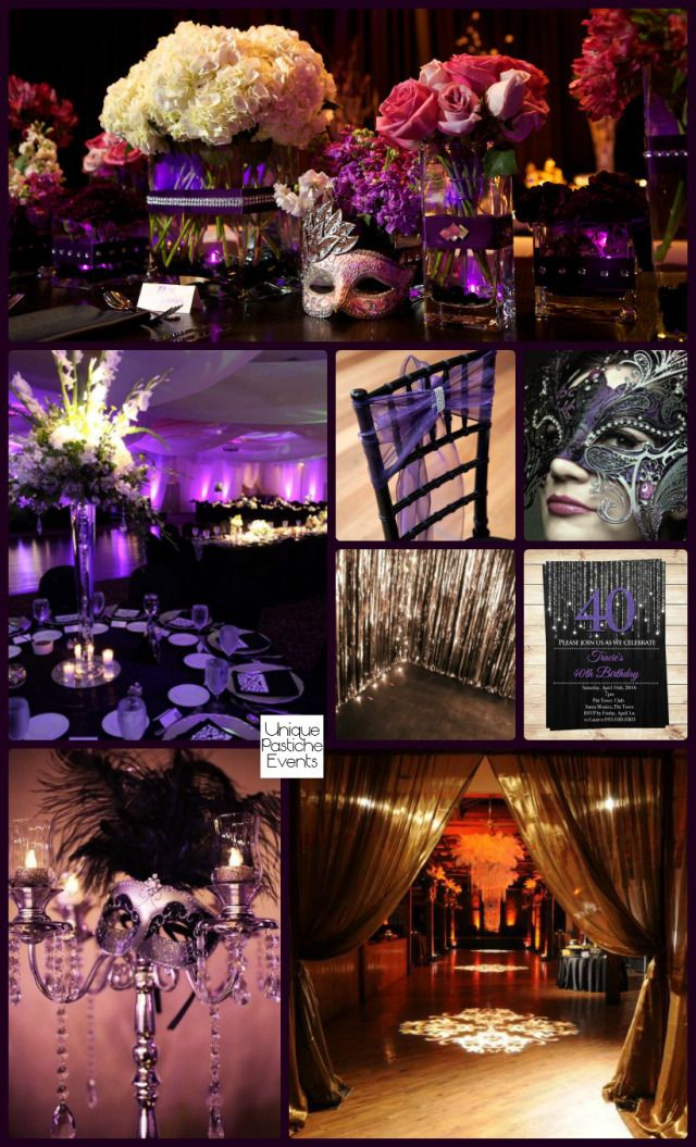 Moonlight Masquerade Ball In Black Purple And Silver IdeaBoard Inspirat
