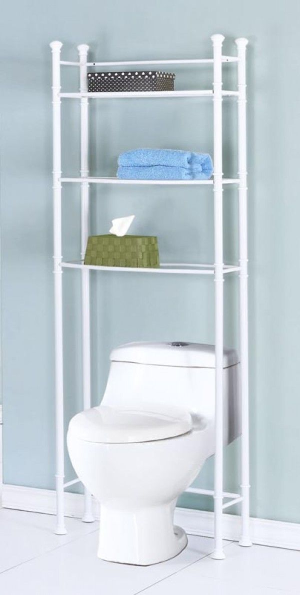 I've never considered building a shelf unit out of pvc pipe before.   Bathroom Space Saver with Tempered Glass - White Metal by Monarch Specialties Inc.- I-3423- Organize.com