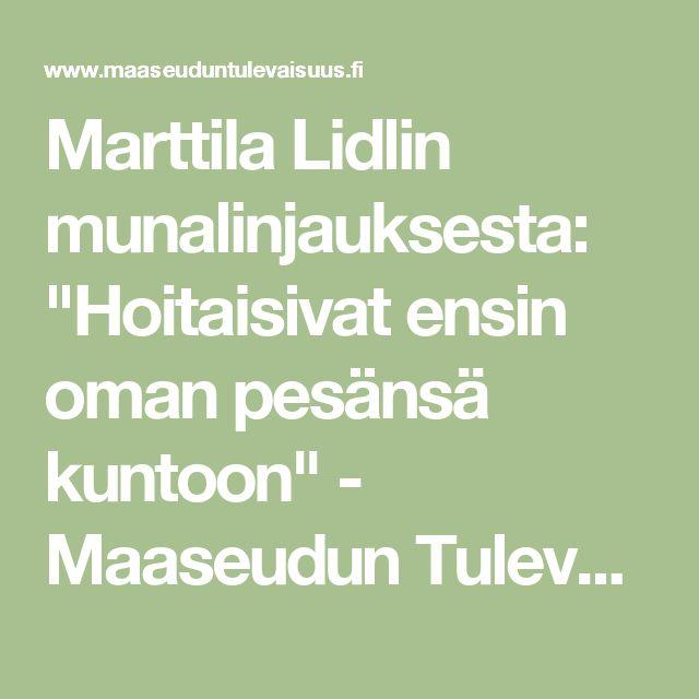 """Marttila Lidlin munalinjauksesta: """"Hoitaisivat ensin oman pesänsä kuntoon"""" - Maaseudun Tulevaisuus"""