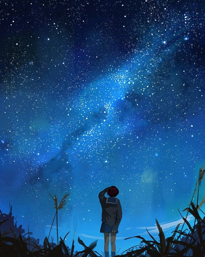 Could Always See The Stars At Night Where I Grew Up And Wanted To Paint Something Inspired By That Art Blue Sky Sky Anime Night Sky Wallpaper Anime Scenery