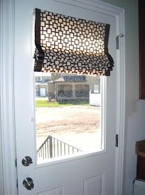 DIY - A little Sparkle: Fabric Shade on Front Door: Fabric, banding, fabric glue, scissors, ironing board, iron and hardware.