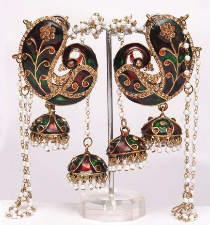 Stylish shape Indian Kashmiri jhumki Style earrings with peacock figure embellished with sparkling golden, red and green color stones and pearls all over.