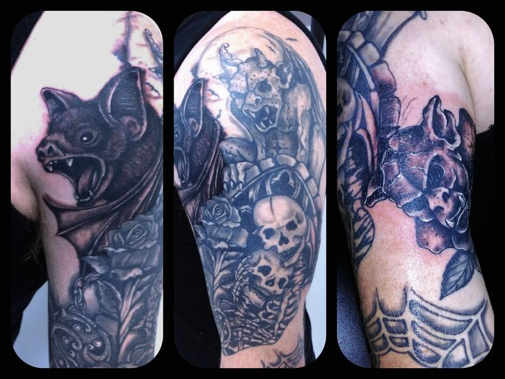 Bat and gargoyle added to this ongoing sleeve by Dave. #bats #tattoos