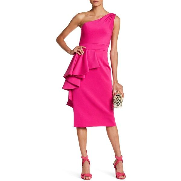 Issue New York One Shoulder Ruffle Dress (£185) ❤ liked on Polyvore featuring dresses, fuchsia, pink frilly dress, one shoulder cocktail dress, fuchsia pink dress, pink ruffle dress and fuschia cocktail dress