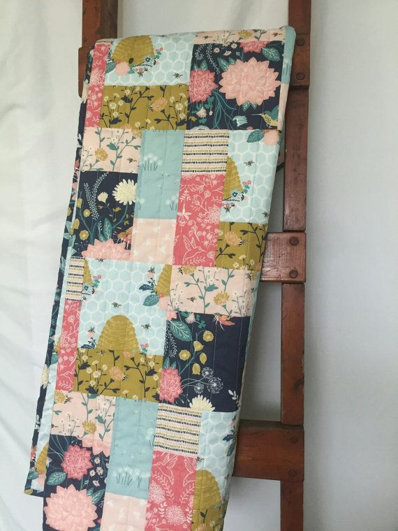 Baby Girl Quilt Shabby Chic Nursery Bedding Floral by BebebyLJ
