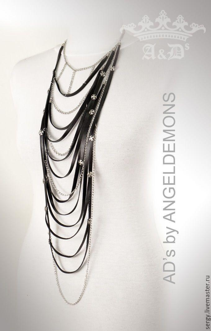 Купить Колье Black Lily long - черный, колье, бусы, колье ручной работы