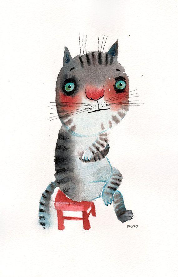 El gato muy introvertido sentado en una silla roja por ozozo