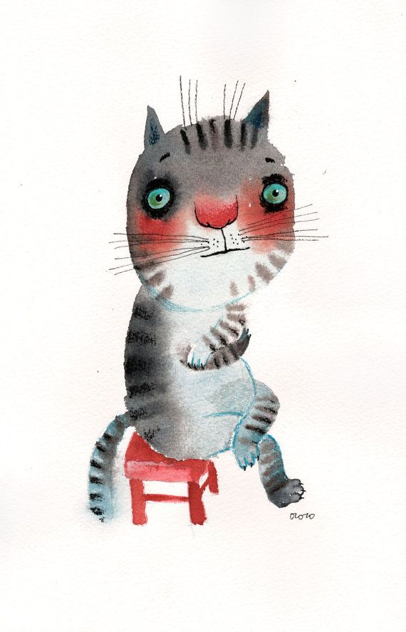 The very introvert cat sitting on a red chair original by ozozo, €50.00