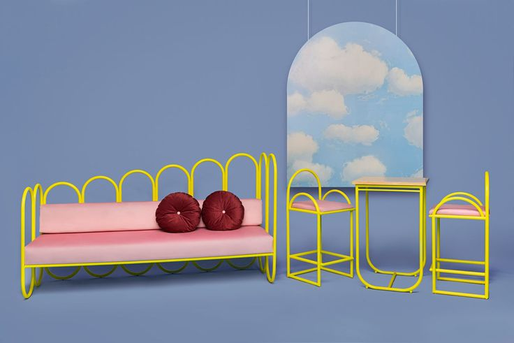 Masquespacio's ARCO collection for Houtique was inspired by the 70s and features bright, bold yellow frames with soft pink velvet cushions.