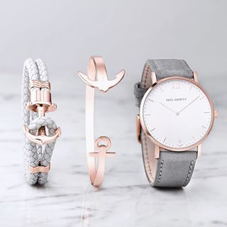 Uhr Sailor Line White Sand IP Roségold Lederarmband GrauGudrun Wörmer