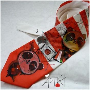 silk tie, 100% natural, hand painted by Apták