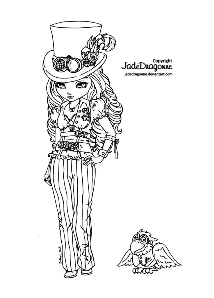 -Traditionnal art - Ink - Pose ref. : Me in one of my steampunk costume. Face and hairs not modelled after me. Part of the Dark Cutie Pie : To see more Cutie Pie :
