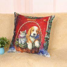 Decoração de natal Presente Travesseiro Cães Bonitos e Gatos Travesseiros Capa de Almofada de Linho de Algodão Papai Noel Jogar Travesseiro 0115*45 45(China)