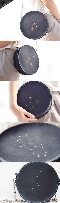 Handmade Leather round bag shoulder bag constellation women