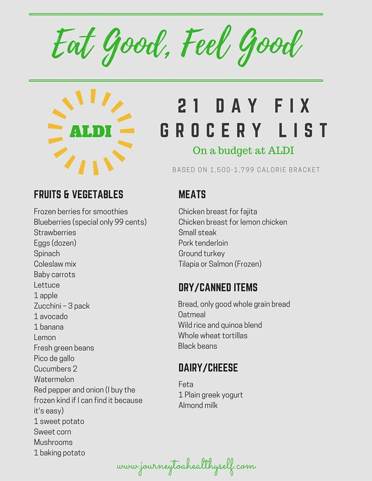Grocery List for 21 Day Fix, ALDI Meal plan | FOOD ...