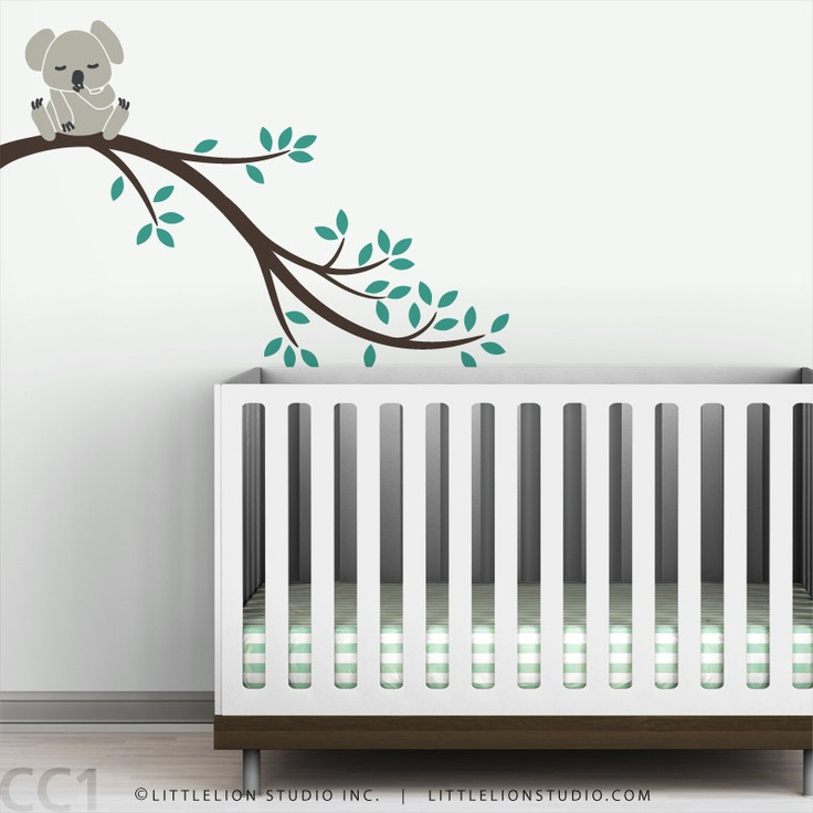 Kids wall decal baby koala bear tree branch wall sticker for Baby wall decoration stickers