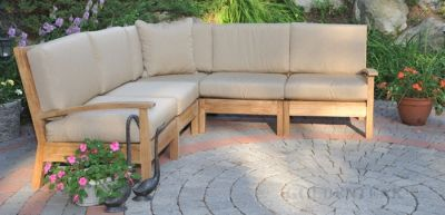 Teak Deep Seating Sectional SET with standard cushions - The Goldenteak.com Teak Furniture Store