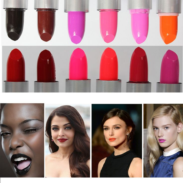 2016 New Fashion Lip Makeup Waterproof Long Lasting Pigments Sexy Red Baby Pink Black Lot Lipstick Girls Cheap Makeup