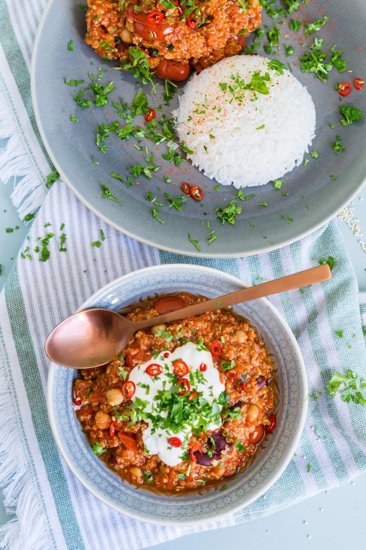 Chili sin Carne mit Quinoa Kichererbsen und Kidneybohnen | Chili sin Carne with…