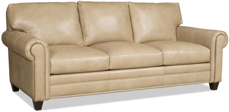 You can get this style in a sofa, loveseat or sofa sleeper. Shown here in a neutral top grain leather.